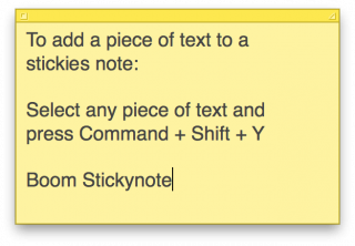 Create a sticky note from any text